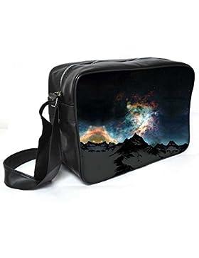Snoogg Aurora Galaxy Leder Unisex Messenger Bag für College Schule täglichen Gebrauch Tasche Material PU