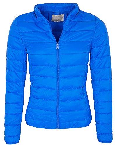 Damen Übergangsjacke Steppdesign Kurzjacke Kapuze warm Frühling D-143 S-XXL Color Blue