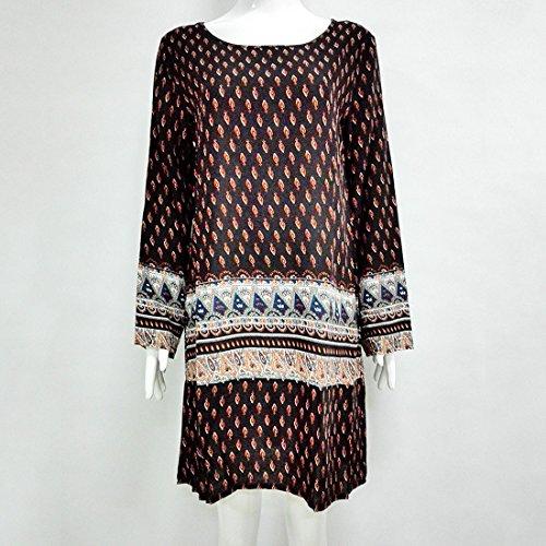QIYUN.Z Frauen Bohemian Weinlese Druckte Ethnische Art Lose Beiläufiges Kleid Schwarz/3