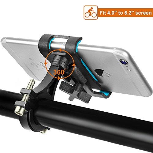 "DeFe Soporte Móvil Bicicleta Giratorio 360 Grados Soporte Telefono Bici Universal Soporte para Bicicleta Moto para iPhone X/8/8 Plus Galaxy S9/S9 Plus/S8/S8 Plus y 4.0""-6.2"" Smartphones (Negro)"