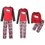 Akaddy 2pcs Eltern-Kind-Weihnachten Kleidung Set T-Shirt Hosen Outfits Weihnachten Weihnachten Nachtwäsche Nachtwäsche (Dad XL)