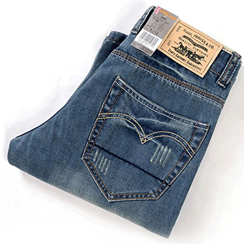 Mirecoo Herren Denim Jeans Sommer Kurze Shorts ohne Gürtel Hellblau