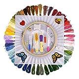 sokey Stickerei Set,Kreuzstich Set,Stickerei Starter kit 50 Farbfäden, Nadeln Set für Kreuzstich Stricken Nähgarne Stickerei und kreative Inspiration bereichern-100PCS