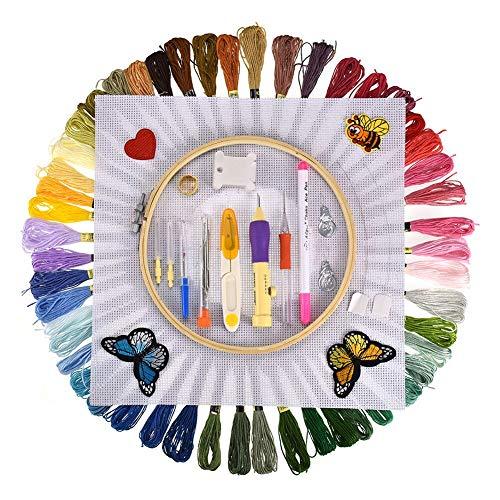 sokey Stickerei Set,Kreuzstich Set,Stickerei Starter kit 50 Farbfäden, Nadeln Set für Kreuzstich Stricken Nähgarne Stickerei und kreative Inspiration bereichern-100PCS -