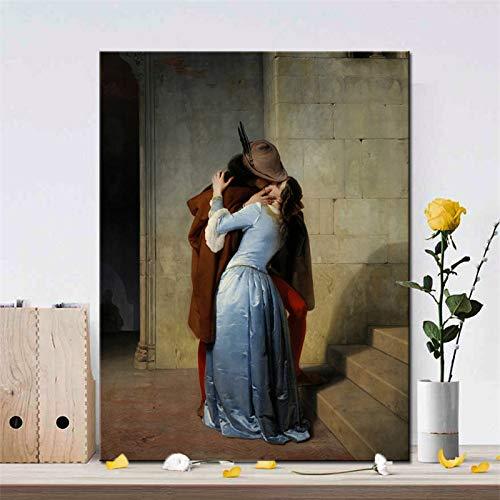 mmwin Italien Maler Francesco Hayez Kiss-Il Bacio Poster und Drucke Wandkunst Leinwand Malerei Liebhaber Bild für Wohnzimmer Dekor Geschenk Q 30x40 cm