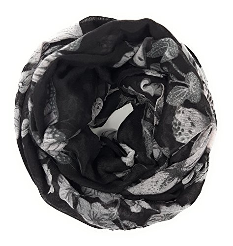 Mer's Style - Fular Estampado Floral para Mujer Negro