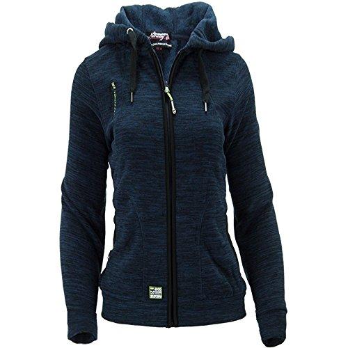 Geographical Norway Damen Fleece Jacke Fleecejacke Pullover Kapuze Gr 44 XXL blau