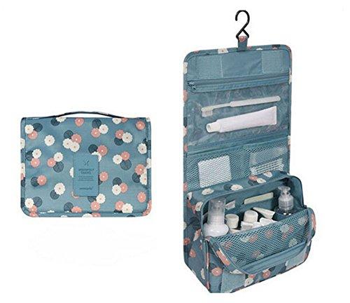 ODN Bleu Hanging sac fleur de cas organisateur cosmétique imprimé stockage maquillage Voyage toilette organisateur sac de lavage
