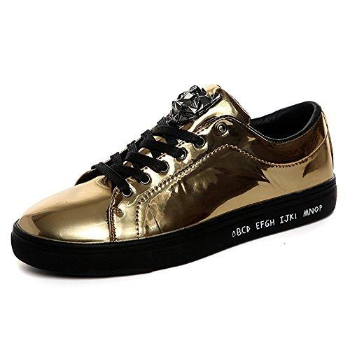 Patent-leopard (Patent Turnschuhe Herren Flats Sneaker Sportschuhe Lace-Up Leopard Freizeit Schuhe 43 Gold)