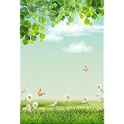 YongFoto 1,5x2,2m Fondos Fotograficos Primavera Paisaje Césped Verde Margarita Mariposa Cielo Azul Rama Hoja Verano Naturaleza Fondos para Fotografia Fiesta Niños Boby Boda Estudio Fotográfico