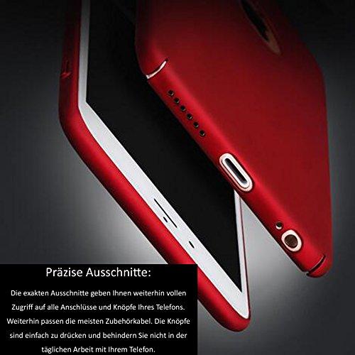 Rosso iPhone 8Plus Ultra Sottile 0.9mm Custodia Matte Case Cover + Rosso Copertura Completa Pellicola Protettiva + anello rosso del supporto del basamento, sunavy 3in 1Anti Urti Anti Graffi 360gr Rosso 1