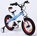 R BABY BUTTONS FREESTYLE BMX KIDS BIKES IN 4 COLOURS - IN SIZE 12,14,16 INCH WITH HEAVY DUTY REMOVABLE STABILISERS. (HONEY BLUE-RED RIM, BUTTON-14)