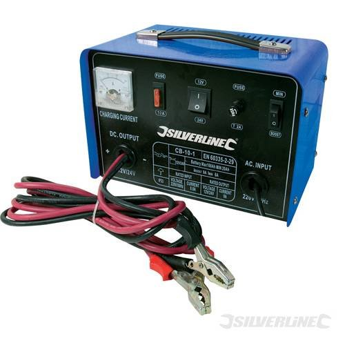 POWER TOOLS WORKSHOP BATTERY CHARGER 12/24V 10A 12V/24V 10A 12/24V CHARGING DE SALIDA  MIN AH RATING 10AH  MAX AH RATING 50AH  THERMAL OVERLOAD PROTECTION  EASY DE TO DE READ AMMETER  POLARITY INVERSION AND FAST CHARGER  CARRY HANDLE AND JUMP LEADS  BY SILVERLINE