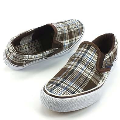 INDIGO SHOES Kinder Unisex Sneaker, Slipper, Stretcheinsätze, braun karo, Größe:39