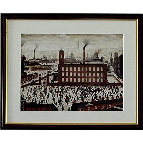 L S Lowry specialità Stampa/Picture–Scena, industriale su una struttura in lino, misura media, Walnut Finish Frame With Soft White Mount And Large Image, 20 x 16inch