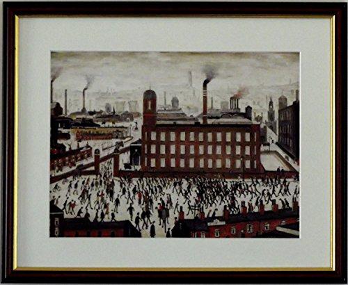 L S Lowry Spezialität Druck/Bild-Industrial Szene-auf einem Leinen Struktur Medium, Walnut Finish Frame With Soft White Mount And Large Image, 20 x 16inch -