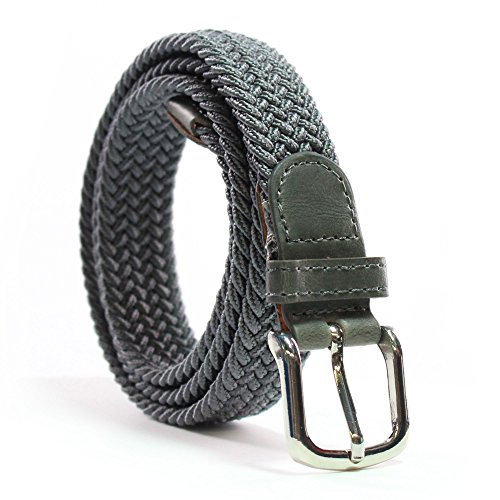 Cinturón Elástico Mujer - Cinturón Trenzado – 25 MM – Confort Unico - Hebilla No Niquel (Cintura: 80 cm / 95 cm, Gris)