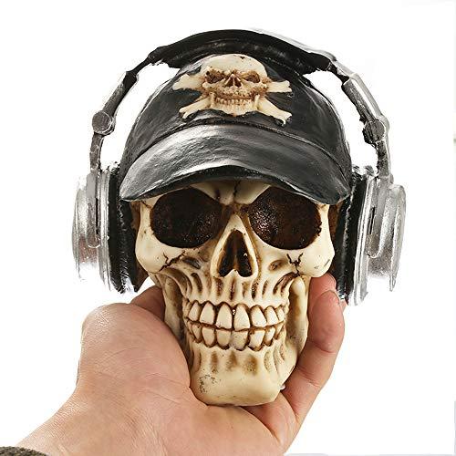 LUCKFY 1 stück Lebensgroße Menschlicher Schädel Harz Schädel Modell Kopfhörer Vintage Wohnkultur Kreative Geschenk Schädel Figur für Halloween, Männer, Frauen Geschenke
