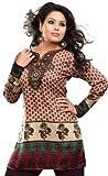 India Kurti Donna Stampato Camicetta Indiano Abbigliamento (Marrone, M)