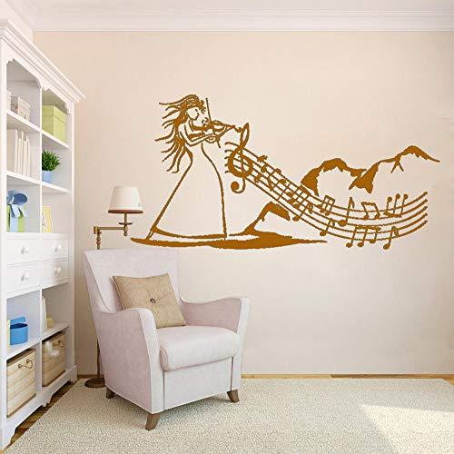 Kinderzimmer Schlafzimmer Wandtattoo Wasserdichte Aufkleber Volksmusik Violine Musik Kunst Frau Kunst Wandaufkleber M 57 * 114 cm