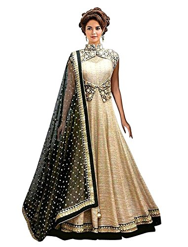 Everest Women\'s Cream-Black Banglori With Net Anarkali Style gown Lengha choli