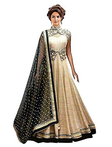 Everest Women\'s Cream-Black Banglori With Net Anarkali Style gown Lengha choli