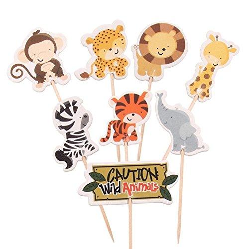 Cool Ring 24 stücke Tier Geformte Kuchen Dekoration Toppers Griff Dschungel Tier kinder Geburtstagsparty Favors Baby Dusche Cake Decoration von