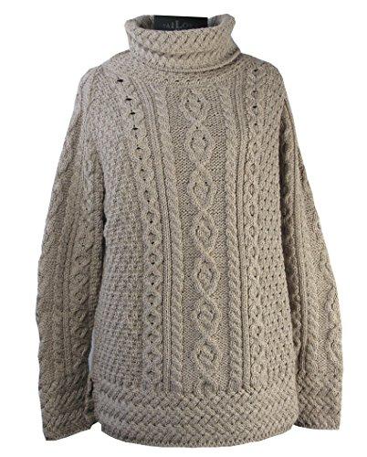 Irische Aran-damen-pullover (Damenpullover aus 100% Merino-Wolle. Lang Pullover.)