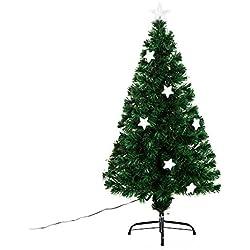 Árbol de Navidad PVC Arbol de Fibra Óptica con Luces LED 120 cm + 16 ESTRELLAS Luminosas