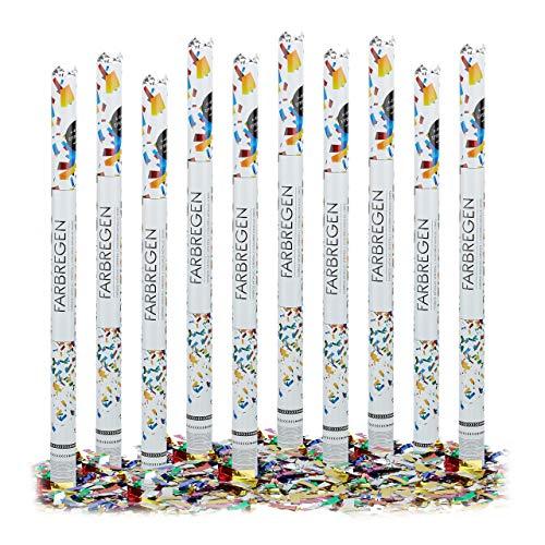 10 x Party Popper 80 cm im Konfettikanonen Set, Konfetti Bombe für Hochzeit und Geburtstag, Konfetti Shooter 6-8 m Effekthöhe, bunt metallic