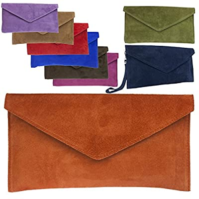 Brand Verapelle Genuine Italian Suede Large Envelope Shaped Clutch bag Purse handbag Rebecca Clutch Party Prom Clutch