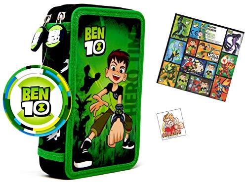 Ben 10 Ben 10 - 28 TLG Set - XL-Doppel Federtasche - gefüllt 27 TLG - 2 Reissverschlüssen + 12 Sticker - super XL-Doppel Federtasche für die Schule -