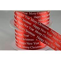 Auguri di Natale Rosso Poliestere raso 25mm x