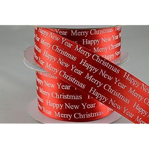 Auguri di Natale Rosso Poliestere raso 38mm x