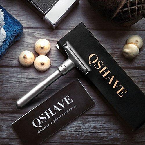 Maquinilla de afeitar clásica de doble filo y calidad ajustable (1 Afeitadora + 5 Cuchillas)