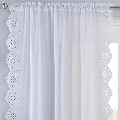 Ideal Textiles Harmony Slot Top Voile Vorhang Panel, Vintage Style bereit Made Rod Pocket Voile, Luxus Spitze Stil Makramee Edge heraklithplatten, weiß, Polyester, weiß, 55