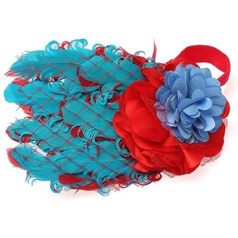 Bebé niña bebé lazo pavo real diadema banda de pelo con diseño de plumas