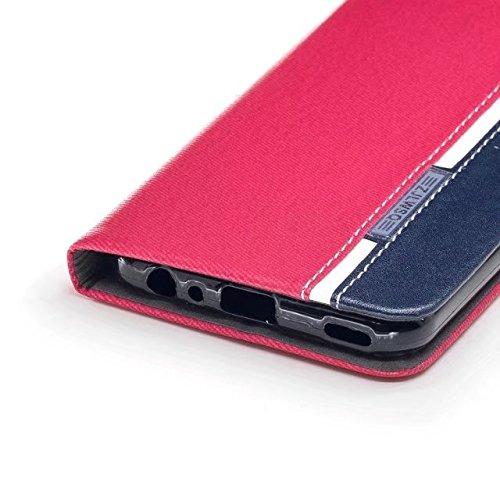 EKINHUI Case Cover Mischfarben Premium Synthetik PU Ledertasche mit Kartenfächern und Kickstand für Huawei NOVA 2 ( Color : Blue ) Red