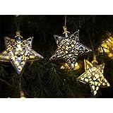 Guirlande lumineuse solaire à lampes LED pour jardin avec 12 lampes marocaines en forme d'étoile