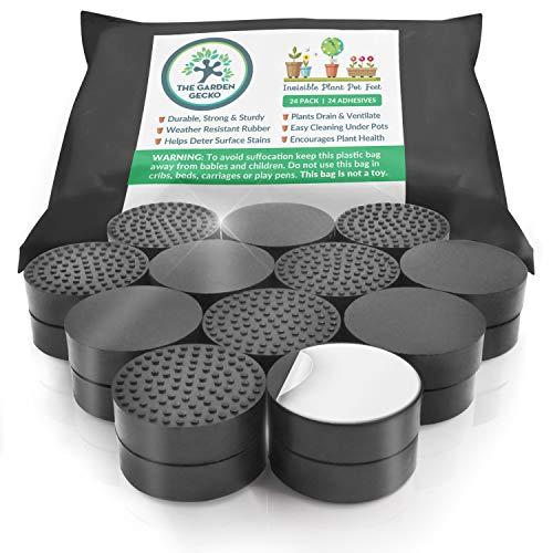 Unsichtbare Blumentopf Füße für Outdoor-Pflanzentöpfe und Blumen: Eine sichere Topfständer-Alternative mit rutschfester Oberflächenhaftung   24 PACK + INKLUSIVE SELBSTKLEBENDEN KLEBEPADS. - Gecko Hat