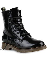 Damen Worker Boots Lack Stiefeletten Grunge Profil Sohle Punk