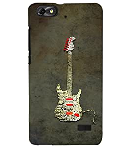 PrintDhaba Typographic Guitar D-3857 Back Case Cover for HUAWEI HONOR 4C (Multi-Coloured)