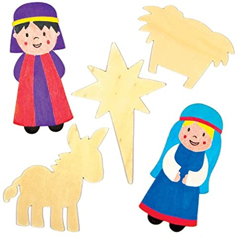 Nativity Wooden Shapes for Children to Colour In and Decorate