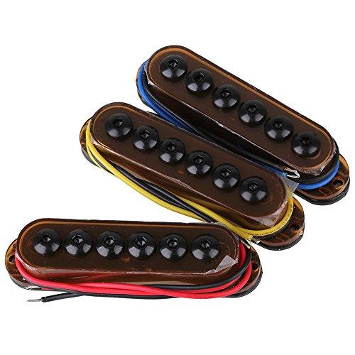 yibuy Metall Single-Coil E-Gitarre Tonabnehmer Set mit weniger Noise für 6-saitige E-Gitarre braun -