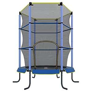Ultrasport Kinder Indoor-Trampolin Jumper 140 cm inkl. Sicherheitsnetz, Blau