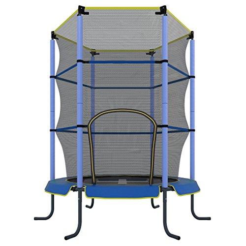 Ultrasport Kinder Indoor-Trampolin Jumper 140 cm, Spaß- und Fitnesstrampolin für Kinder ab 3 Jahren, für die Nutzung als Zimmertrampolin besonders gesichert mit Netz und Randabdeckung, Blau