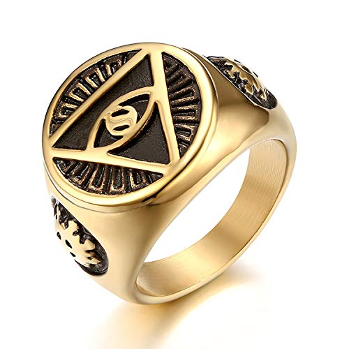 JewelryWe Schmuck Retro Herren-Ring Edelstahl Illuminati Auge der Vorsehung All-Seeing Eye The Eye of Providence Pyramide Ring Siegelring Band Bandring mit Gravur Gold Größe 70