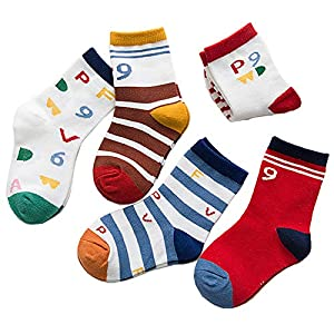 RUOHAN Kinder Socken 5 Paar Kindersocken Baumwollsocken Herbst Digitale Briefe Baumwollsportsocken