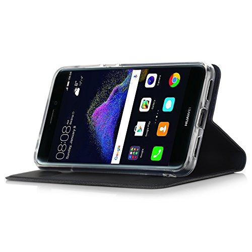 Huawei P8 Lite 2017 Cover - IVSO Slim Flip Cover Custodia per Huawei P8 Lite 2017 Smartphone (Flip Series - Blu)