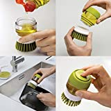 Cpixen Soap Dispensing Palm Brushes Kitchen Cleaning,Plastic Hand-held Cleaning Brush with Storage Container